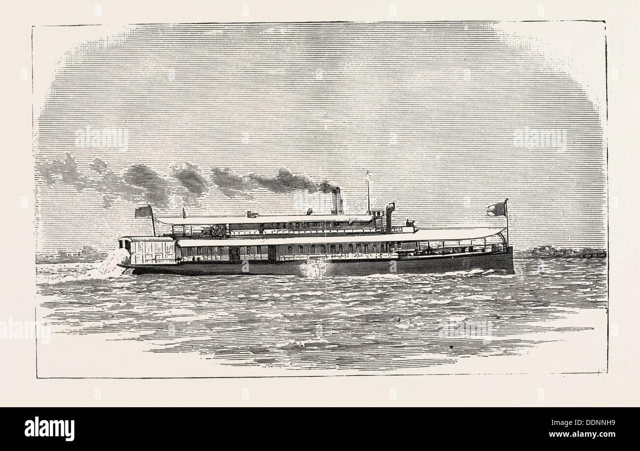 THE S.S. 44 KULING, YANGTZE RIVER CHINA, 1888 engraving - Stock Image