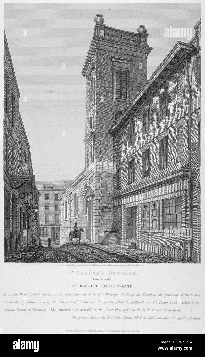 Church of St George Botolph Lane, at the south-east corner of George Lane, City of London, 1814. Artist: Joseph Skelton - Stock Image