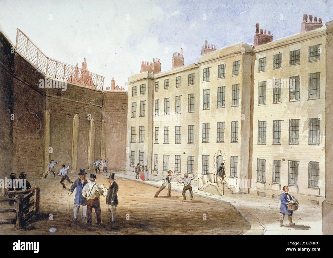 View of Fleet Prison from the tennis ground, City of London, 1845. Artist: Thomas Hosmer Shepherd Stock Photo