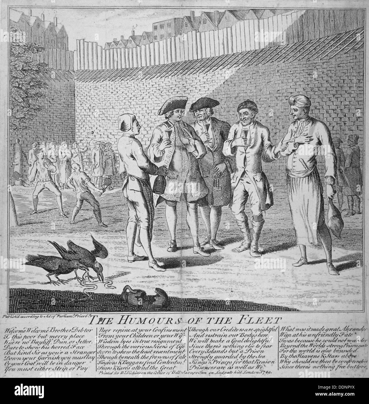 'Humours of the Fleet Prison', 1749. Artist: Anon - Stock Image