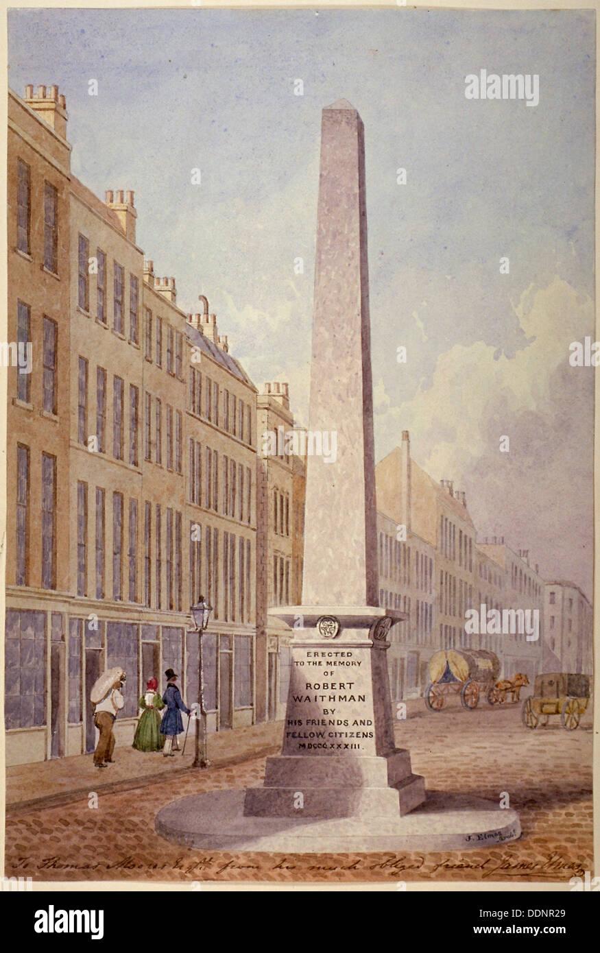Monument at the junction of Farringdon Street and Fleet Street, City of London, 1833. Artist: James Elmes - Stock Image
