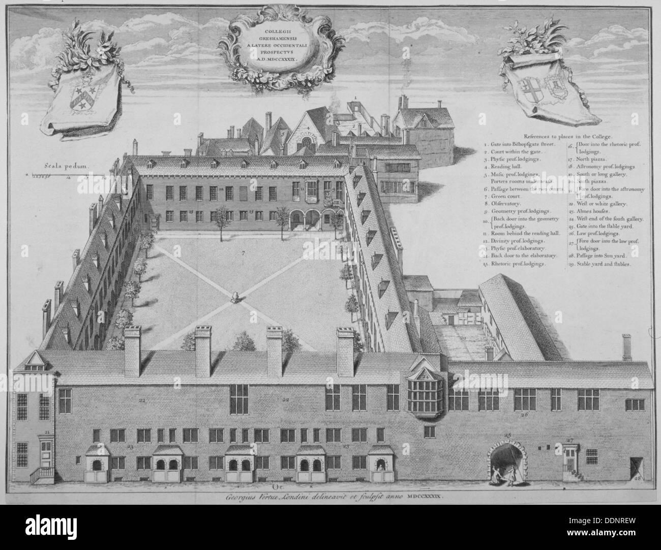 Gresham College, City of London, 1740. Artist: George Vertue - Stock Image