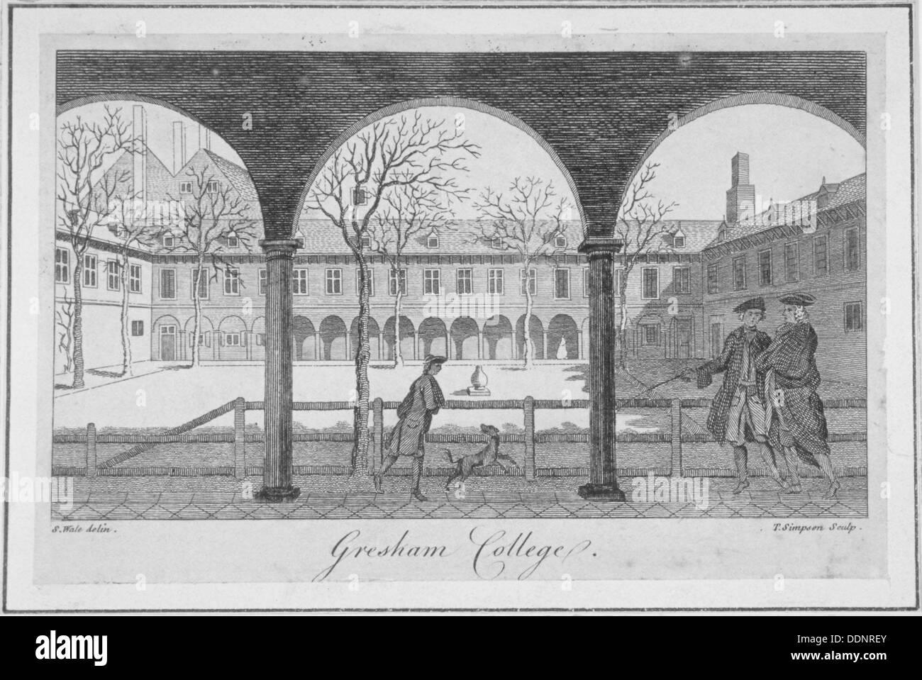 Gresham College, City of London, 1766. Artist: Anon - Stock Image