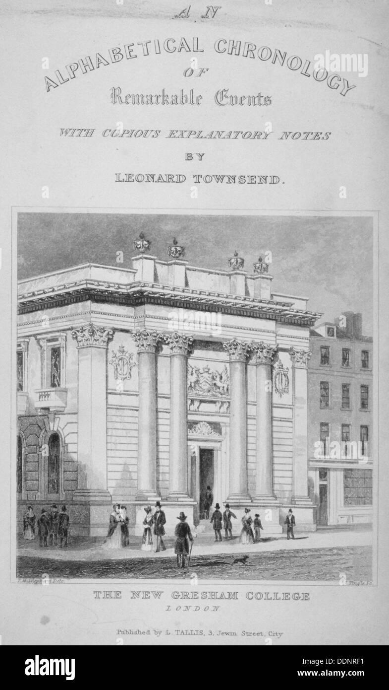 Gresham College, Basinghall Street, City of London, 1845. Artist: James Tingle - Stock Image