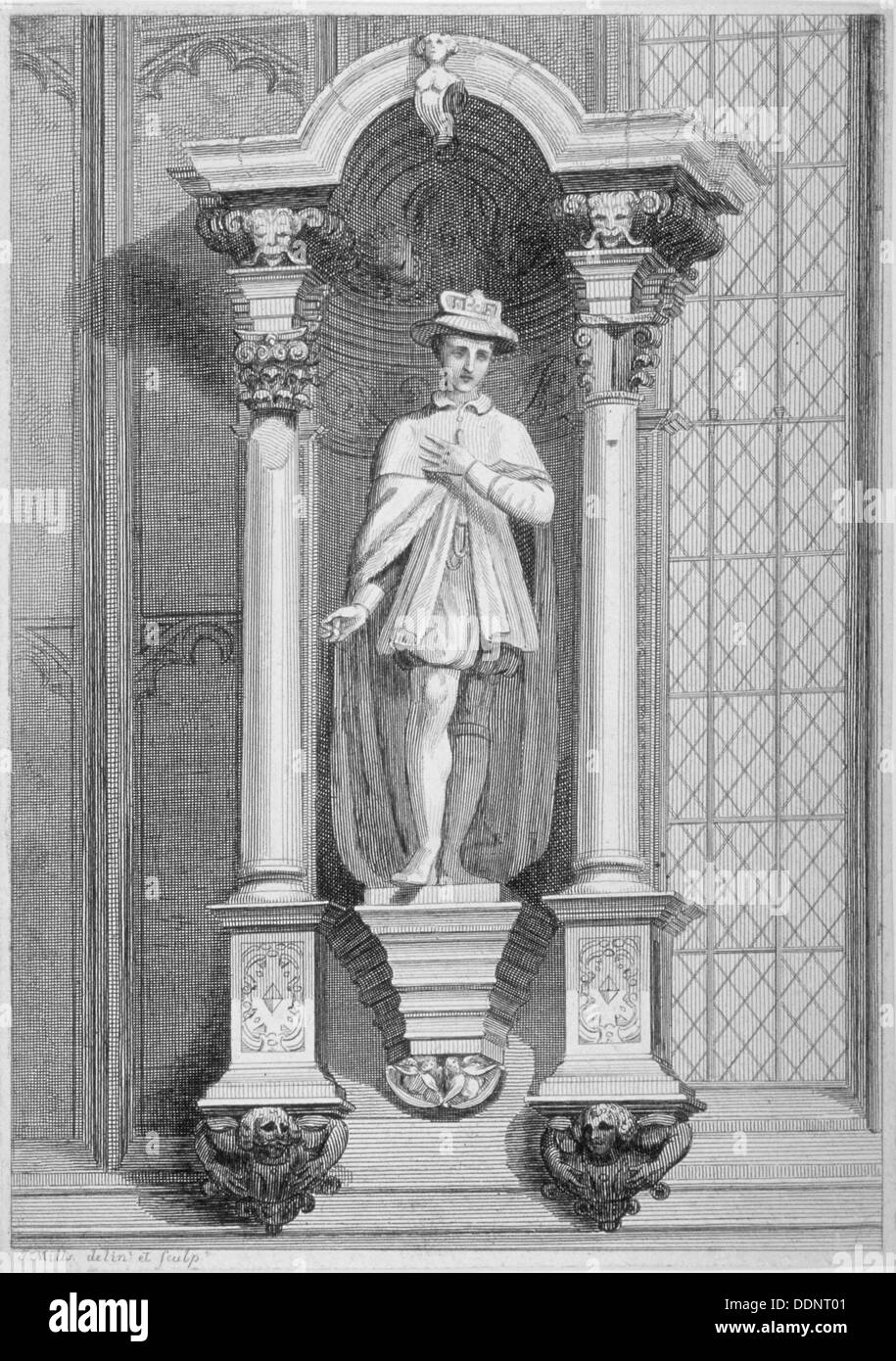 Statue of Edward VI, Guildhall Chapel, City of London, 1822. Artist: T Mills - Stock Image