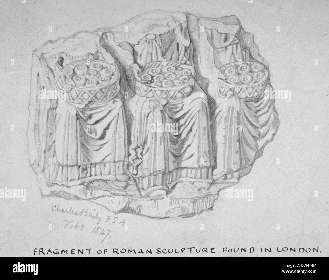 Fragment of Roman sculpture found in Hart Street, Crutched Friars, City of London, 1847. Artist: Charles Baily - Stock Image