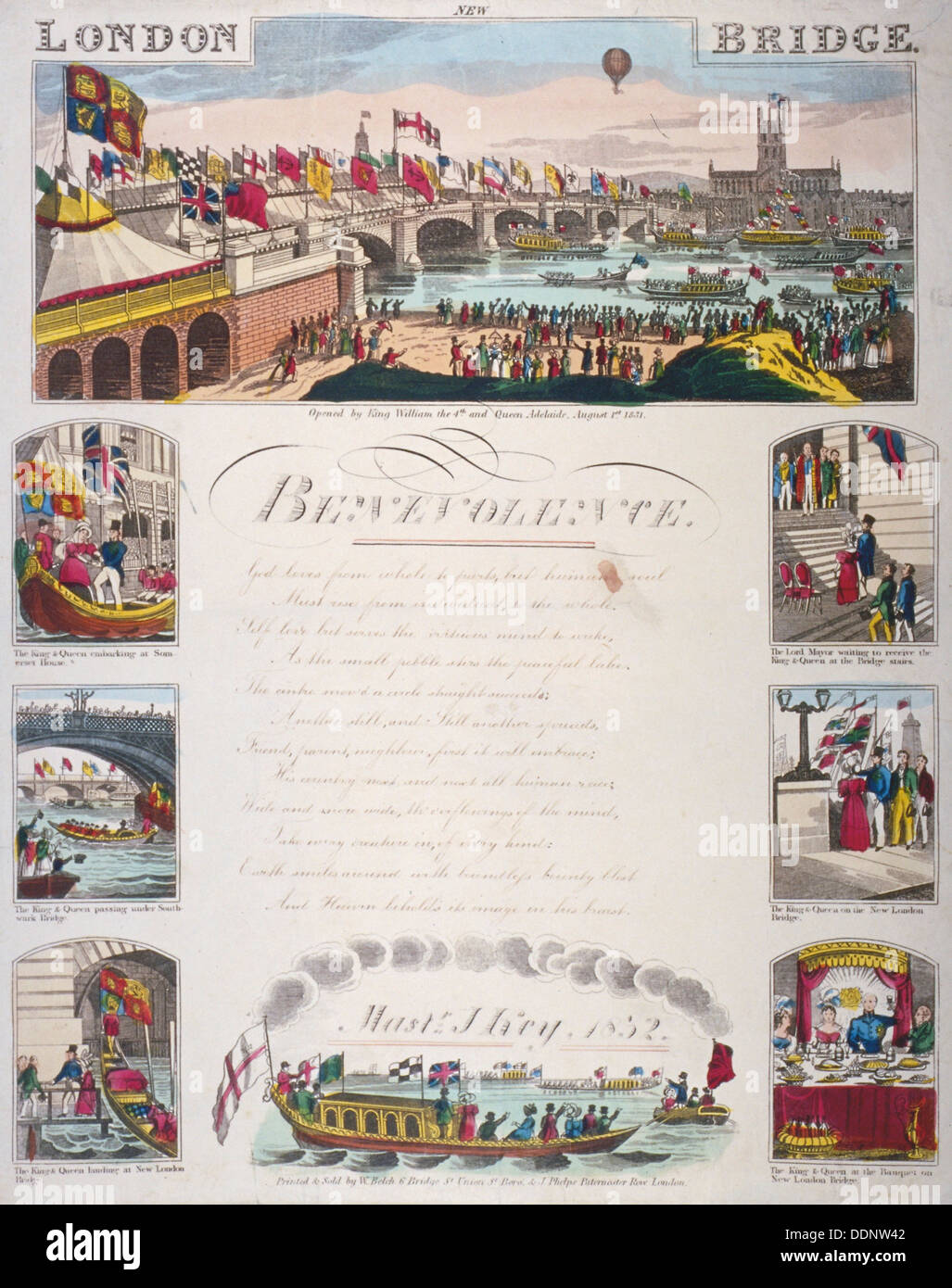 Opening ceremony of the new London Bridge, 1831. Artist: Anon - Stock Image