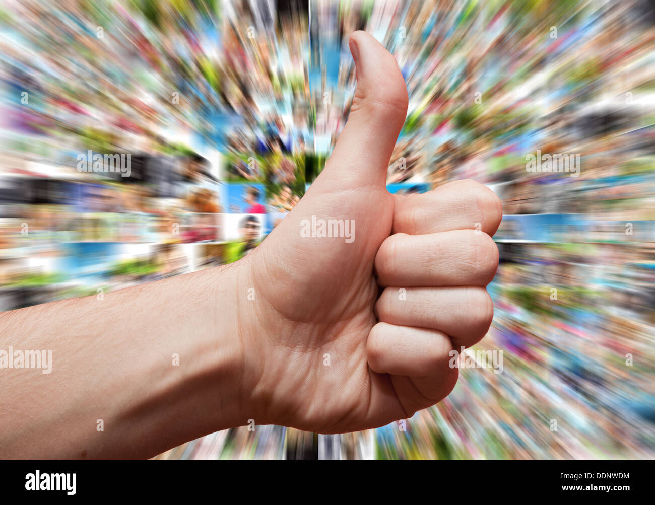 Social media like concept with hand in LIKE or thumbs up sign - Stock Image