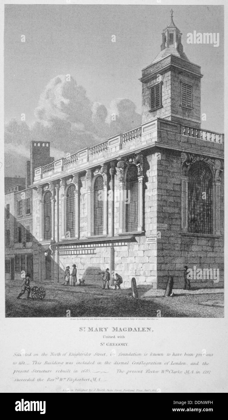 Church of St Mary Magdalen, Old Fish Street, City of London, 1812. Artist: Joseph Skelton - Stock Image