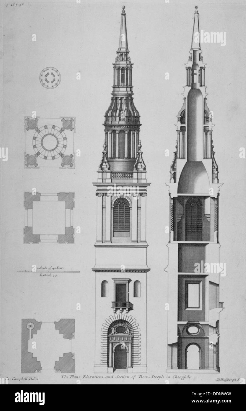 plans elevations and section of the church of st mary le bow stock