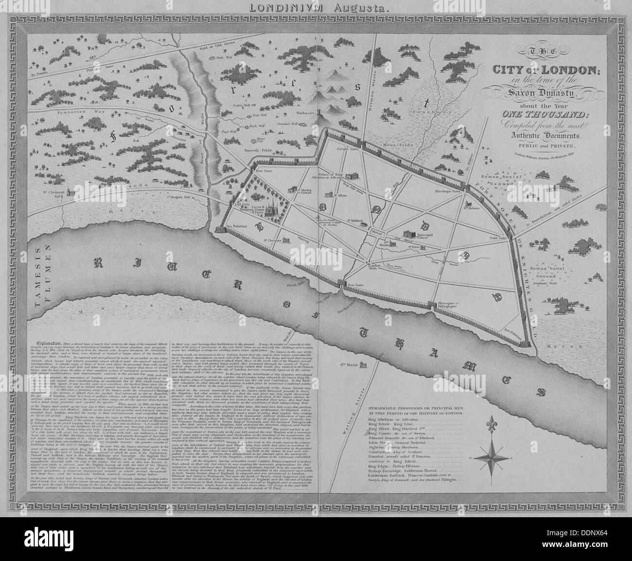 Map of London during the Saxon period, 1835. Artist: Anon - Stock Image