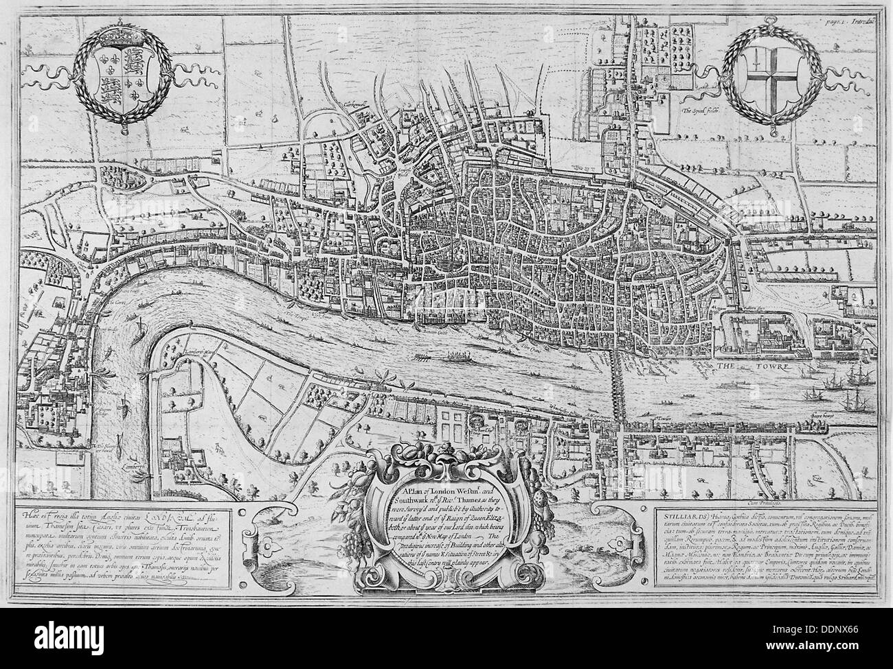 Map of the City of London and City of Westminster in c1600, 1708. Artist: Anon - Stock Image