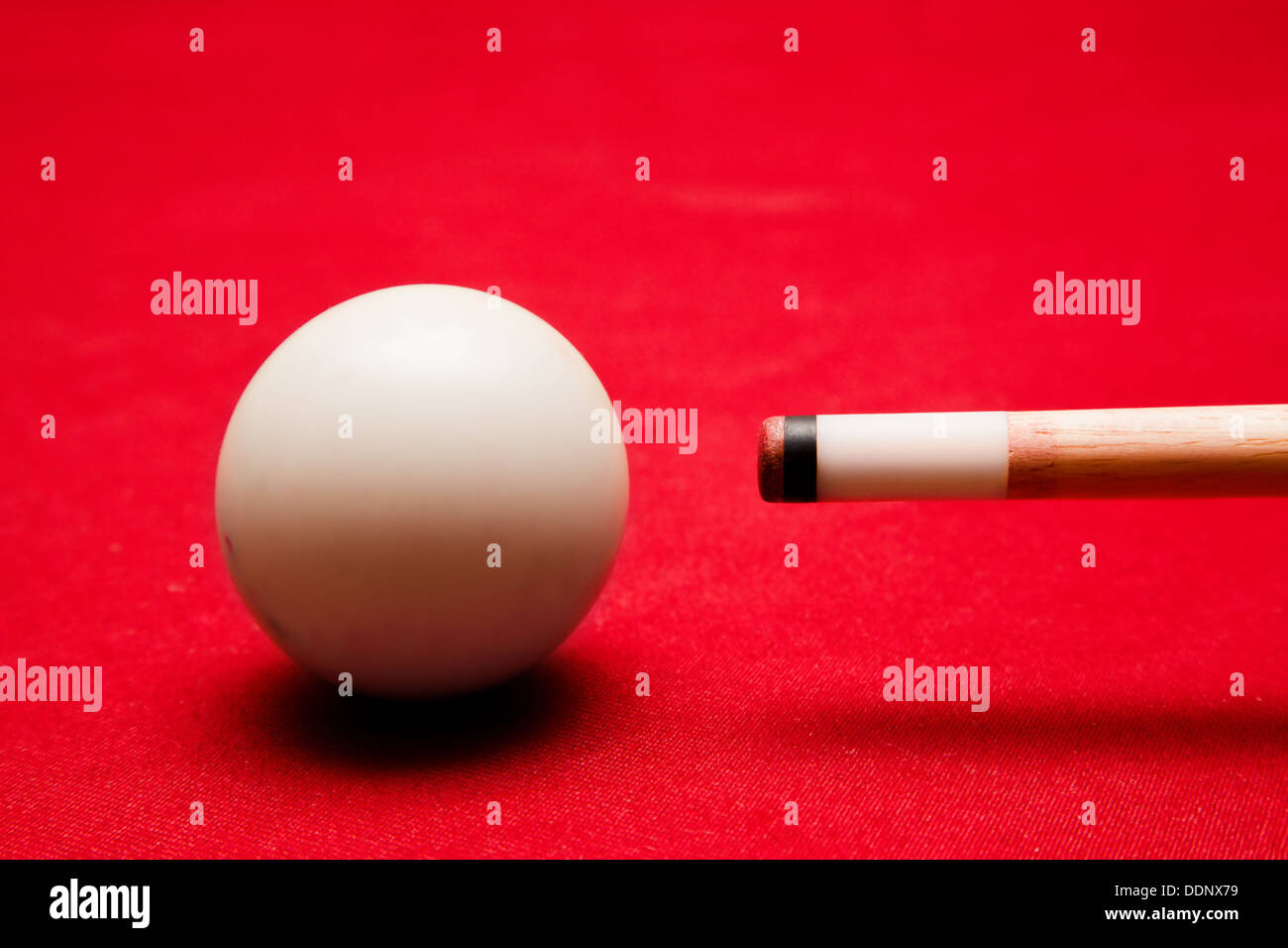 Billiards pool game. Aiming at cue ball. - Stock Image