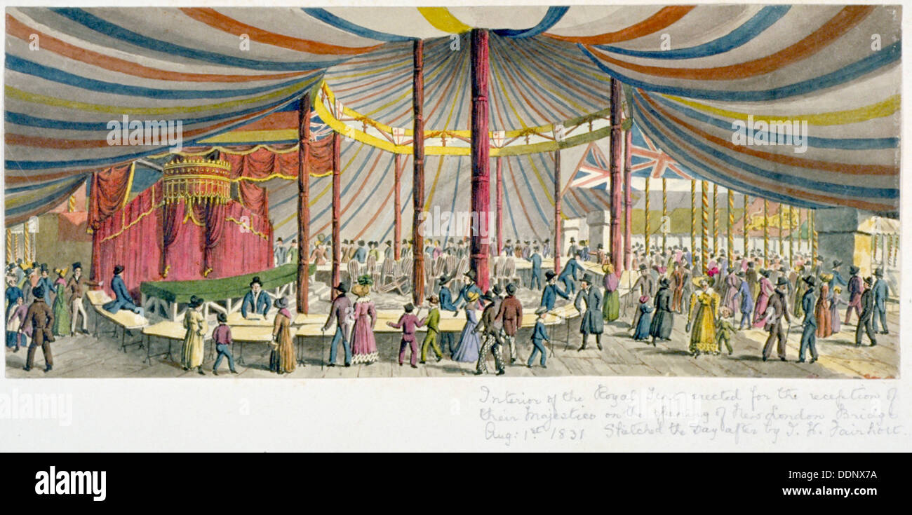 Royal opening of London Bridge, 1831. Artist: JH Fairholt - Stock Image