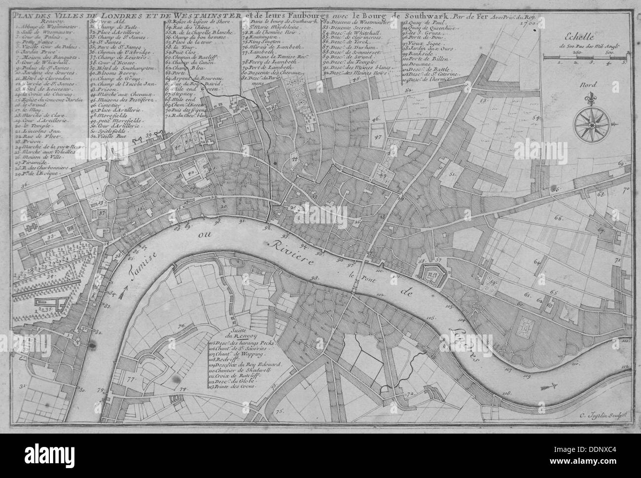 Map of the City of London, the River Thames, the City of Westminster and surrounding areas, 1700. Artist: C Inselin - Stock Image