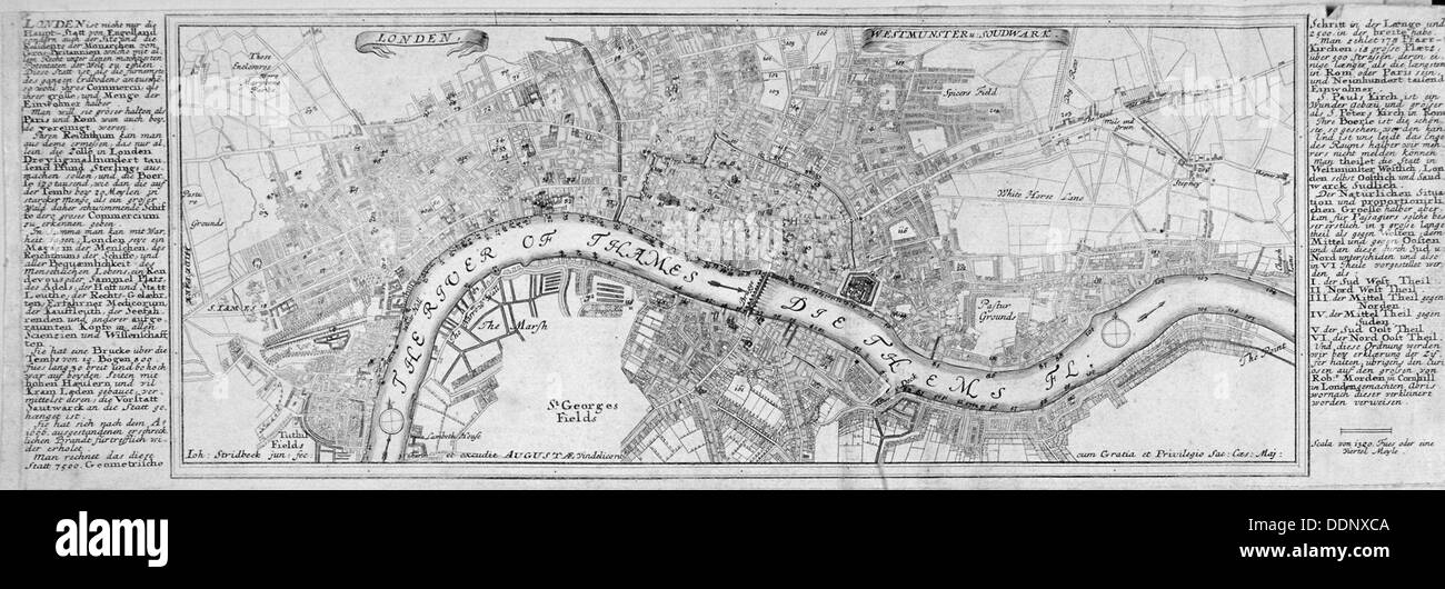 Map of London, 1700. Artist: Augustae Vindelicorum - Stock Image