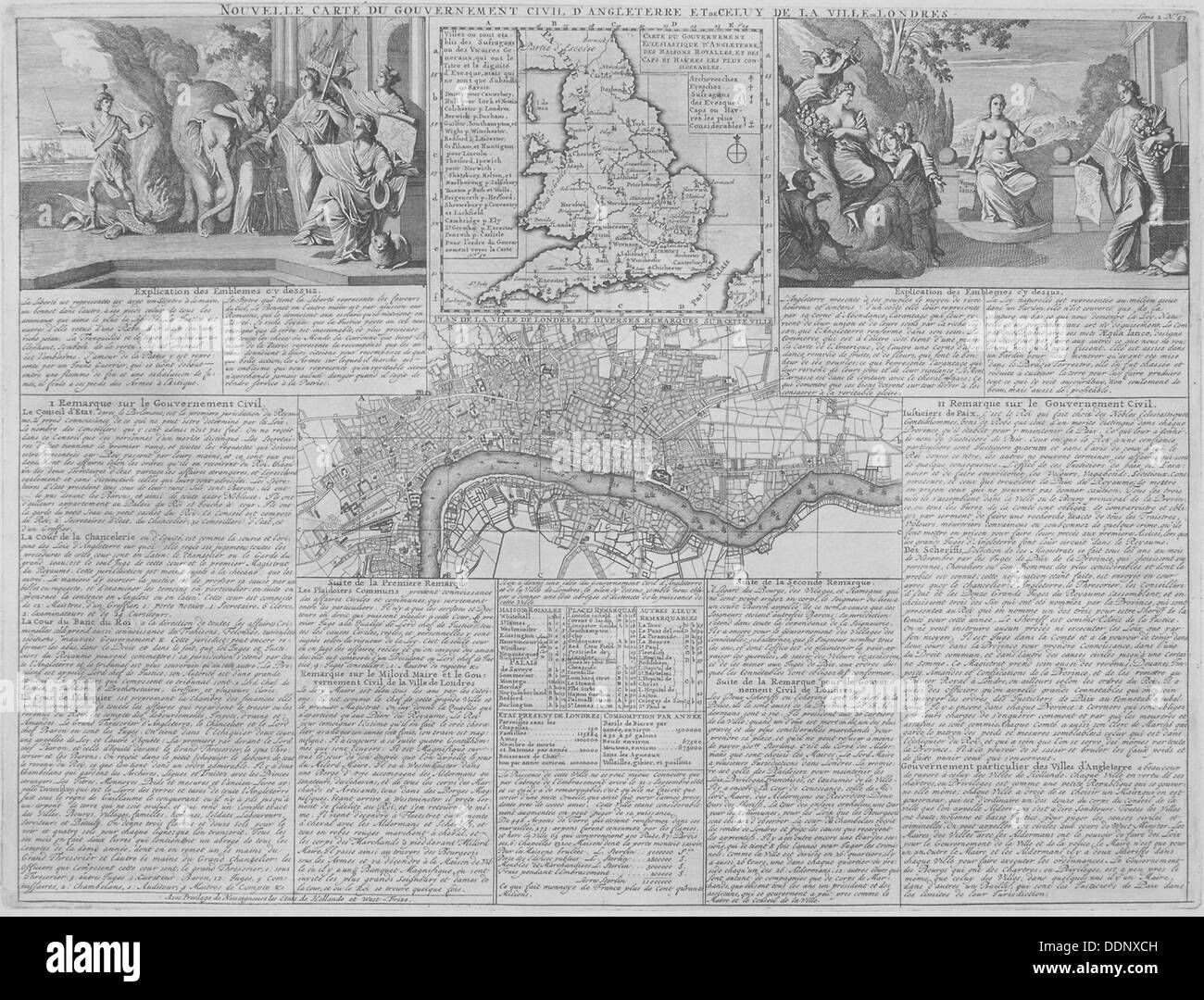Maps of England, Wales and London, 1718. Artist: Anon - Stock Image
