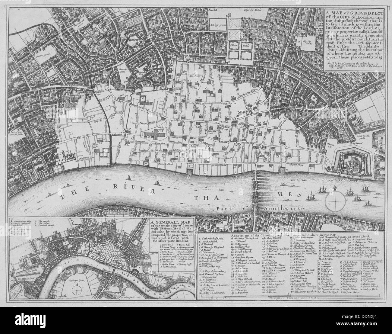 Map showing the extent of the damage caused by the Great Fire of London, 1666. Artist: Wenceslaus Hollar - Stock Image