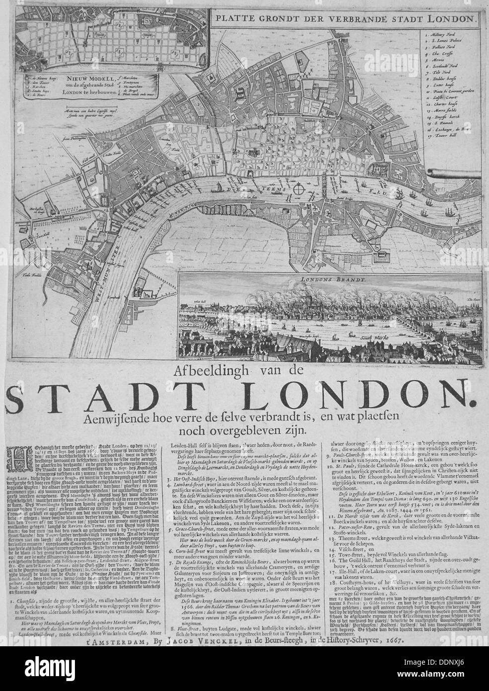 Map of London, 1667. Artist: Anon - Stock Image