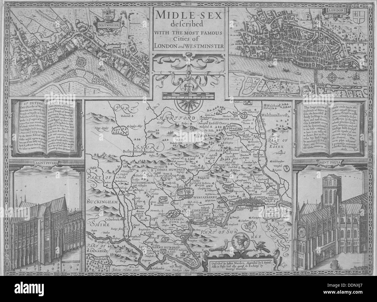 Maps of London, 1610. Artist: Anon - Stock Image