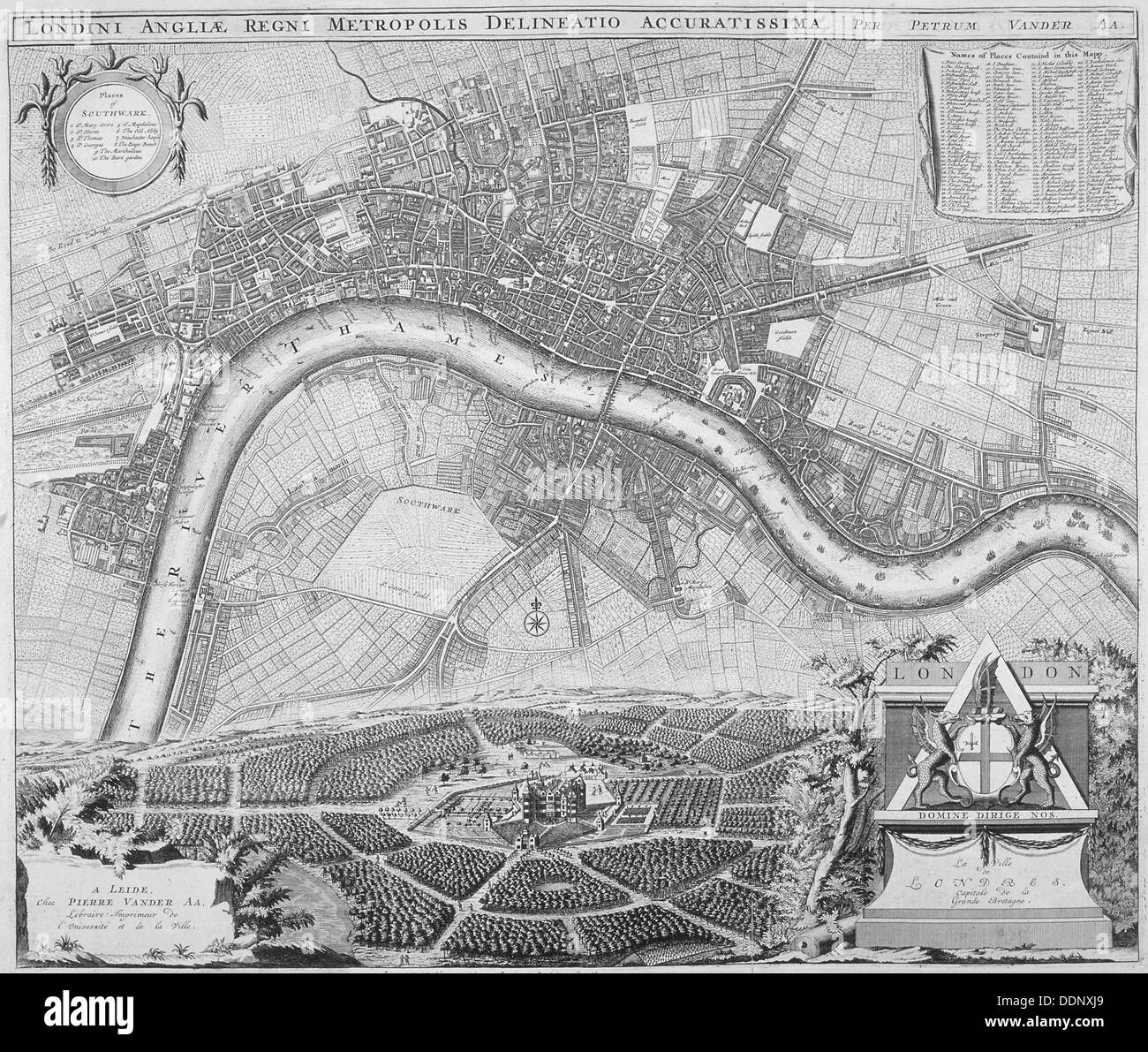 Map of London, 1690. Artist: Anon - Stock Image