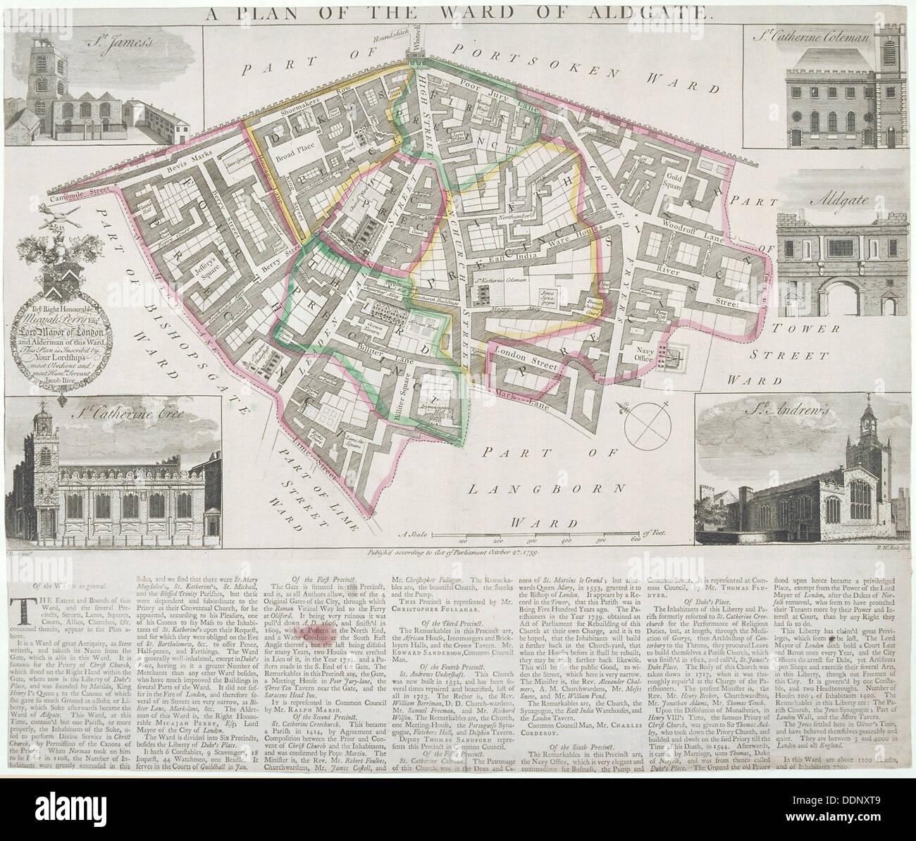 Map of Aldgate Ward, City of London, 1739. Artist: RW Seale - Stock Image