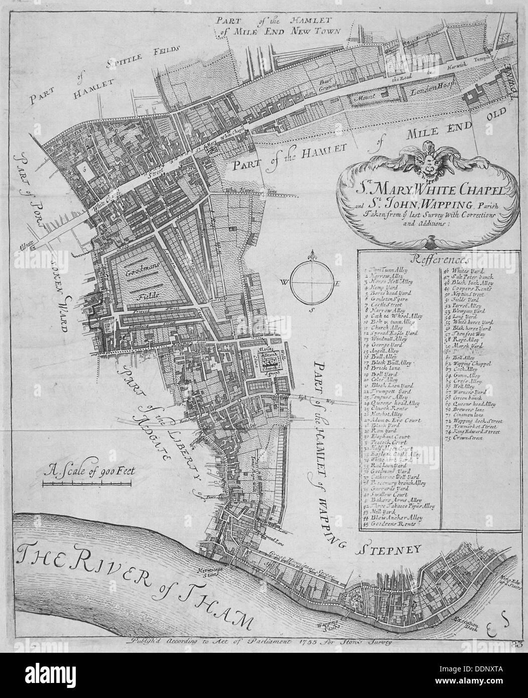 Map of the parishes of St Mary, Whitechapel and St John, Wapping, in Stepney, London, 1755. Artist: Anon - Stock Image