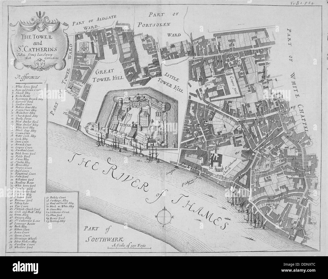 Map of the area around the Tower of London and St Katharine by the Tower, Stepney, London, 1720.     Artist: Anon - Stock Image
