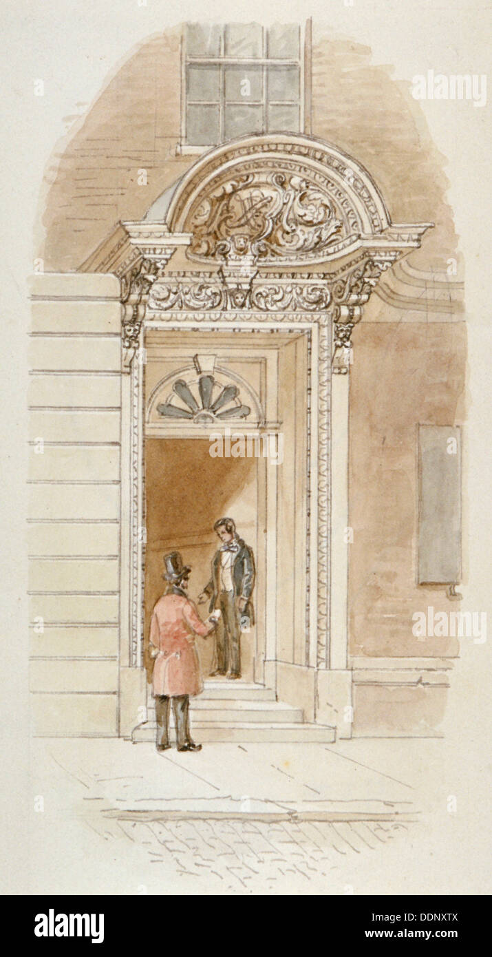 View of the doorway of no 4 Mincing Lane, City of London, 1840. Artist: James Findlay - Stock Image