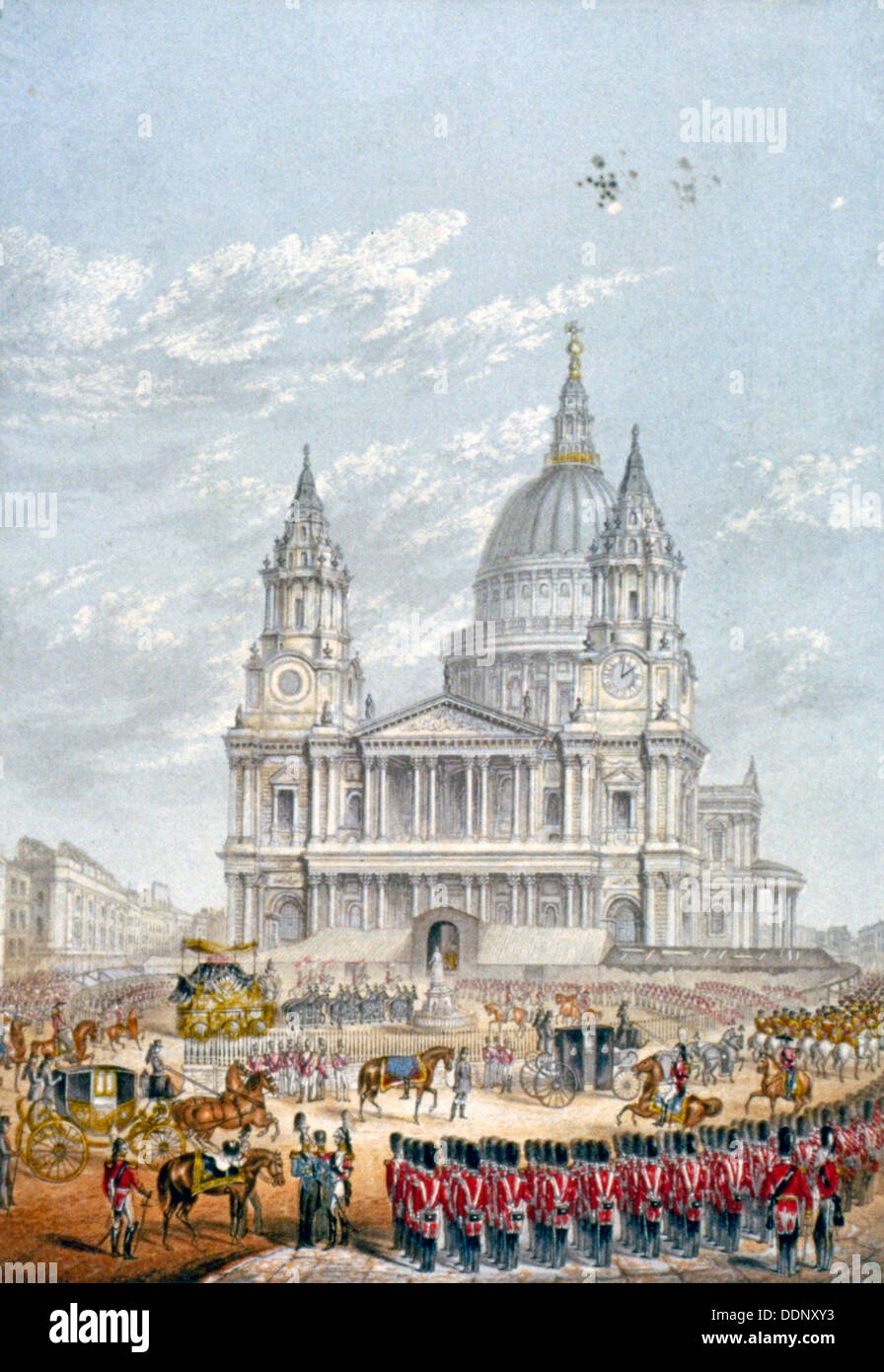 Funeral of the Duke of Wellington, St Paul's Cathedral, City of London, 18 November, 1852. Artist: Anon - Stock Image