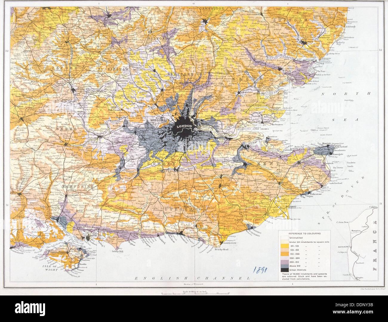 Map of London and south-east England, 1891. Artist: John Bartholomew - Stock Image