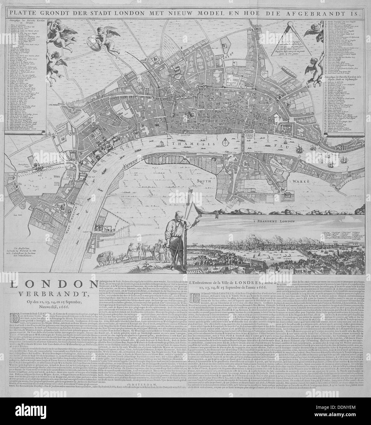 Map of London, 1666.   Artist: Anon - Stock Image