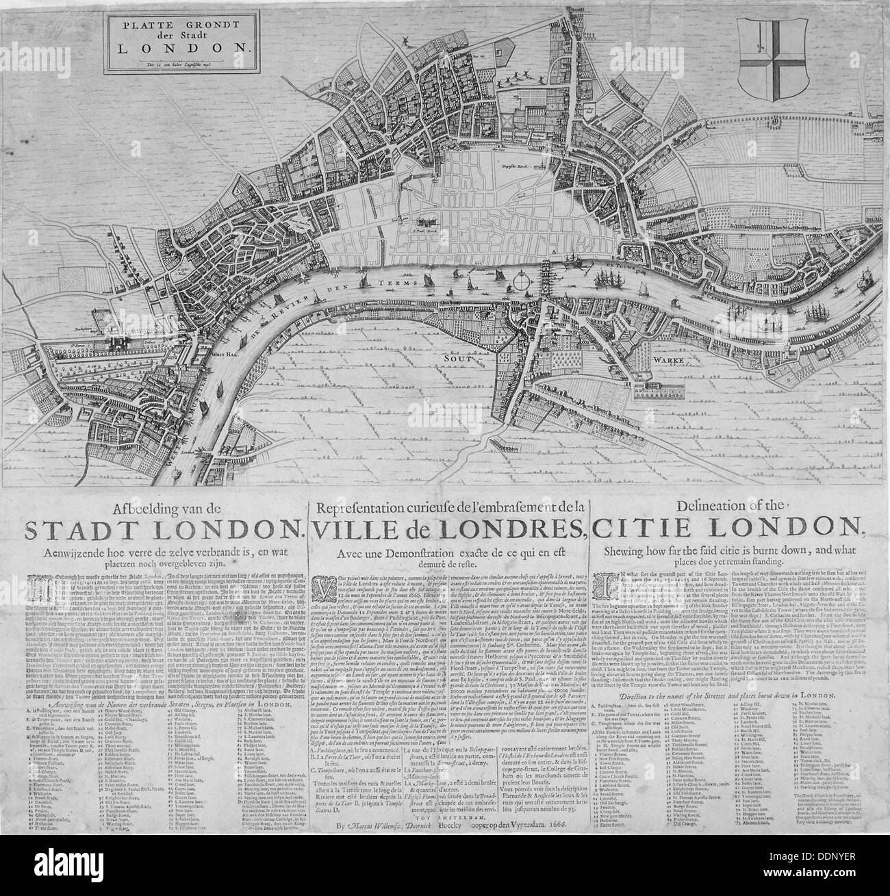 Map of London showing the destruction caused by the Great Fire, 1666. Artist: Anon - Stock Image