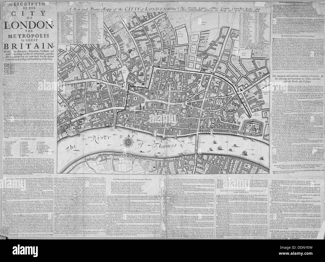 Map of the City of London surrounded by descriptive text, 1676. Artist: Anon - Stock Image