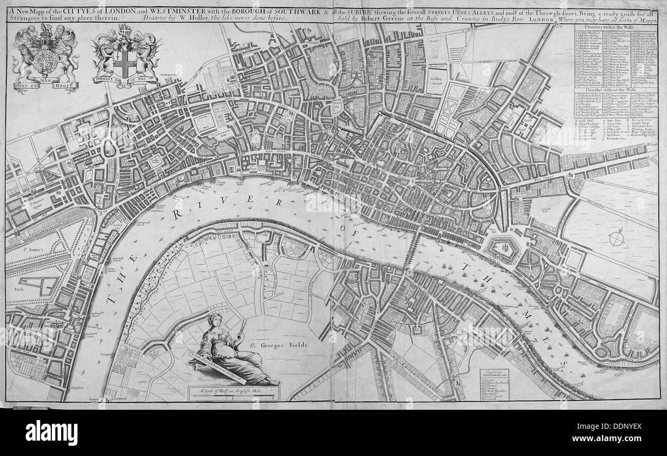Map of the Cities of London and Westminster, Southwark and the suburbs, 1680. Artist: Anon - Stock Image
