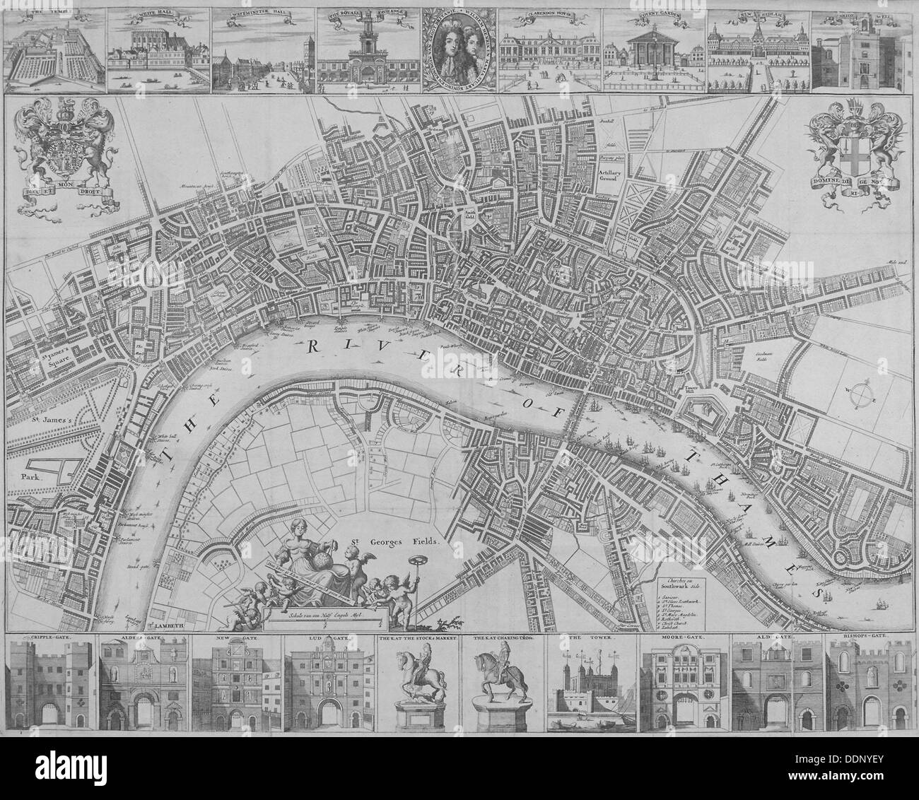 Map of the Cities of London and Westminster and Southwark, 1690. Artist: Anon - Stock Image