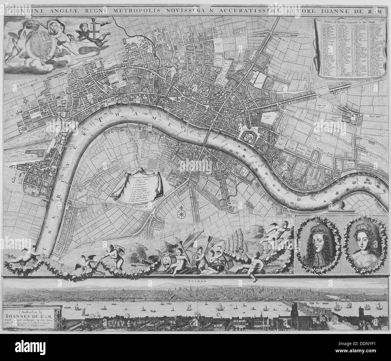 Map of London, 1690. Artist: Johannes de Ram - Stock Image