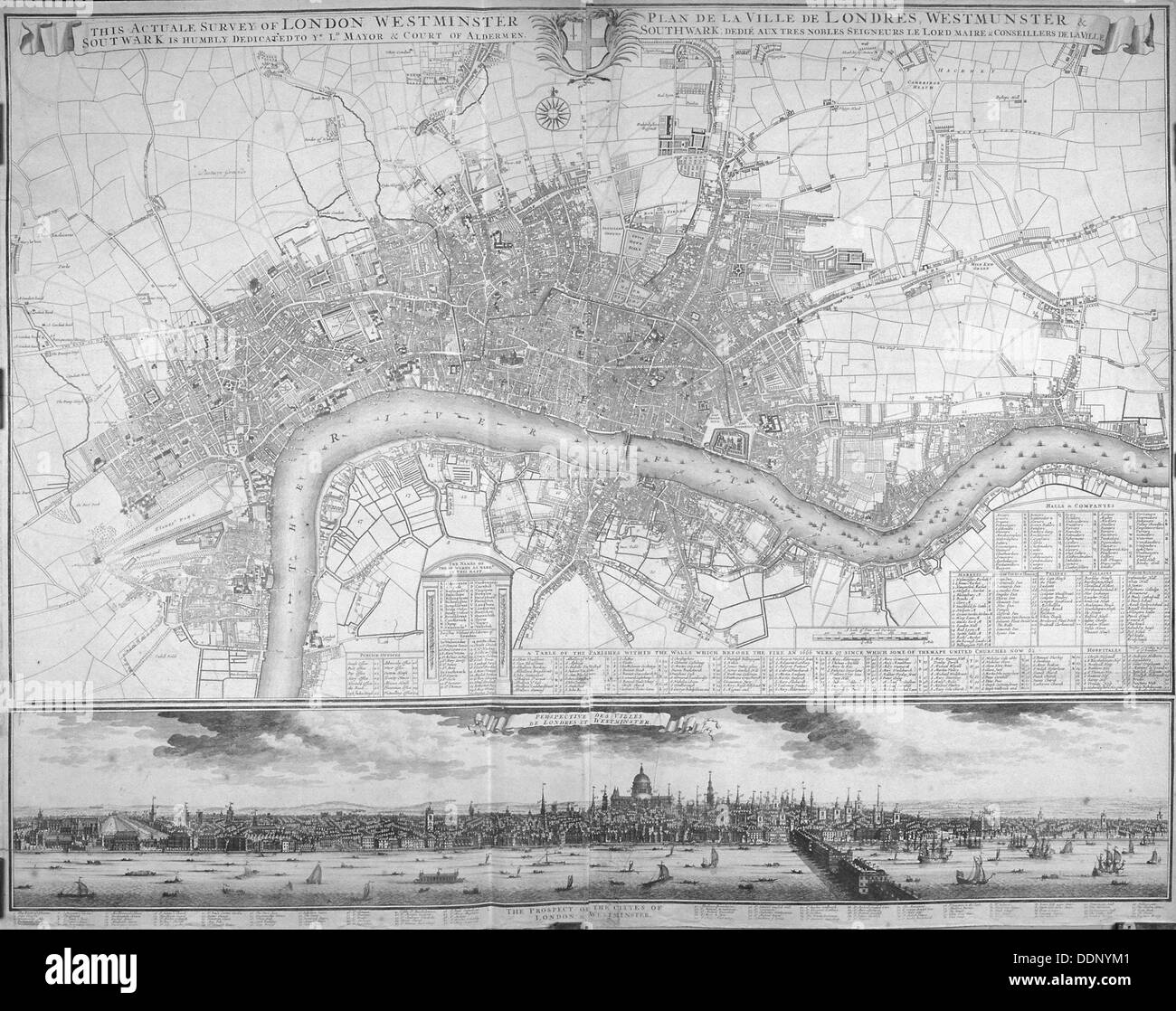 Map of Westminster, the City of London, Southwark, the Thames and surrounding areas, 1710. Artist: Anon - Stock Image