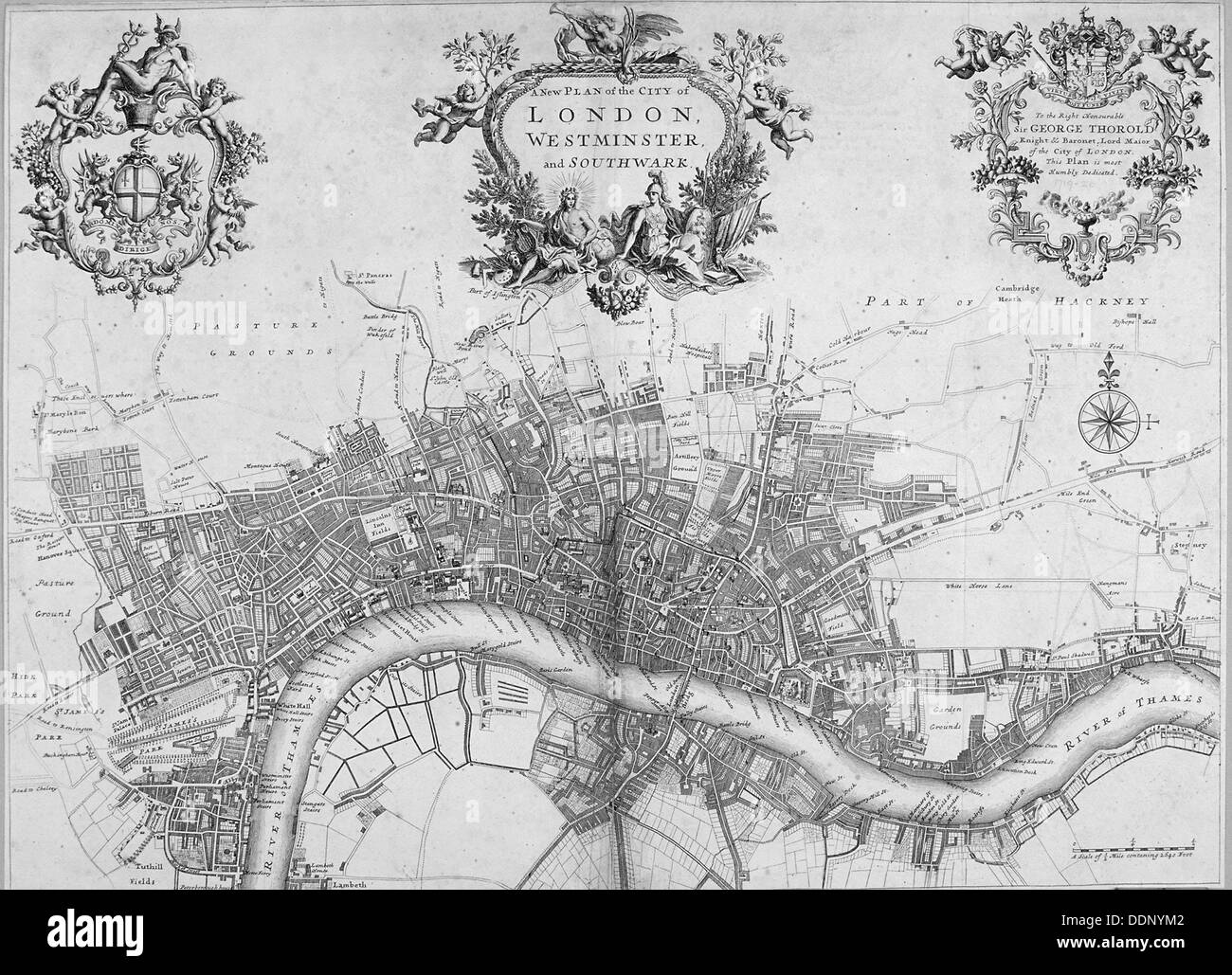 Map of Westminster, the City of London and Southwark, 1720.                                          Artist: Anon - Stock Image