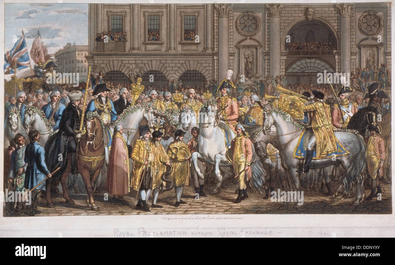Herald reading the proclamation of peace outside the Royal Exchange, London 29 April, 1802. Artist: Anon - Stock Image