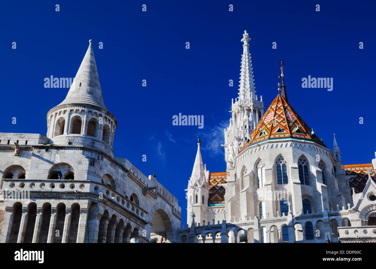 Fisherman's Bastion on the Buda Castle hill in Budapest, Hungary - Stock Image