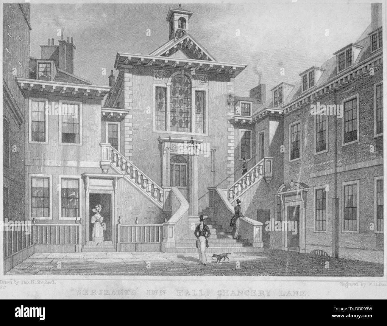 Serjeants' Inn, Chancery Lane, City of London, 1830.        Artist: HW Bond - Stock Image