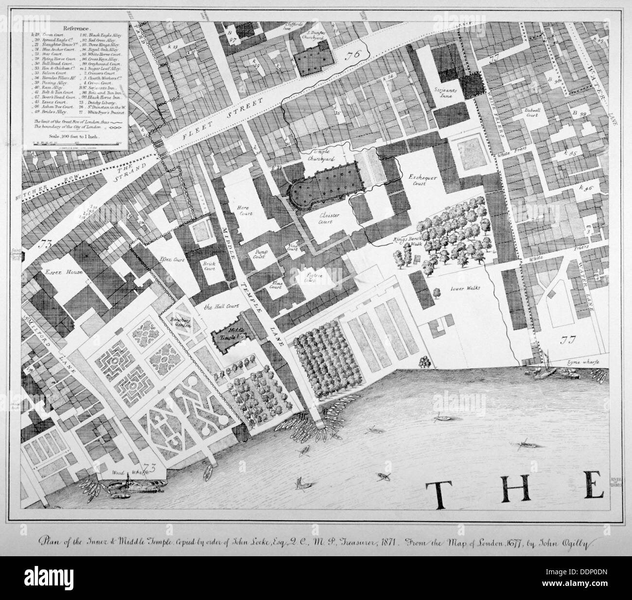 Middle and Inner Temple, City of London, 1871.                                               Artist: Anon - Stock Image