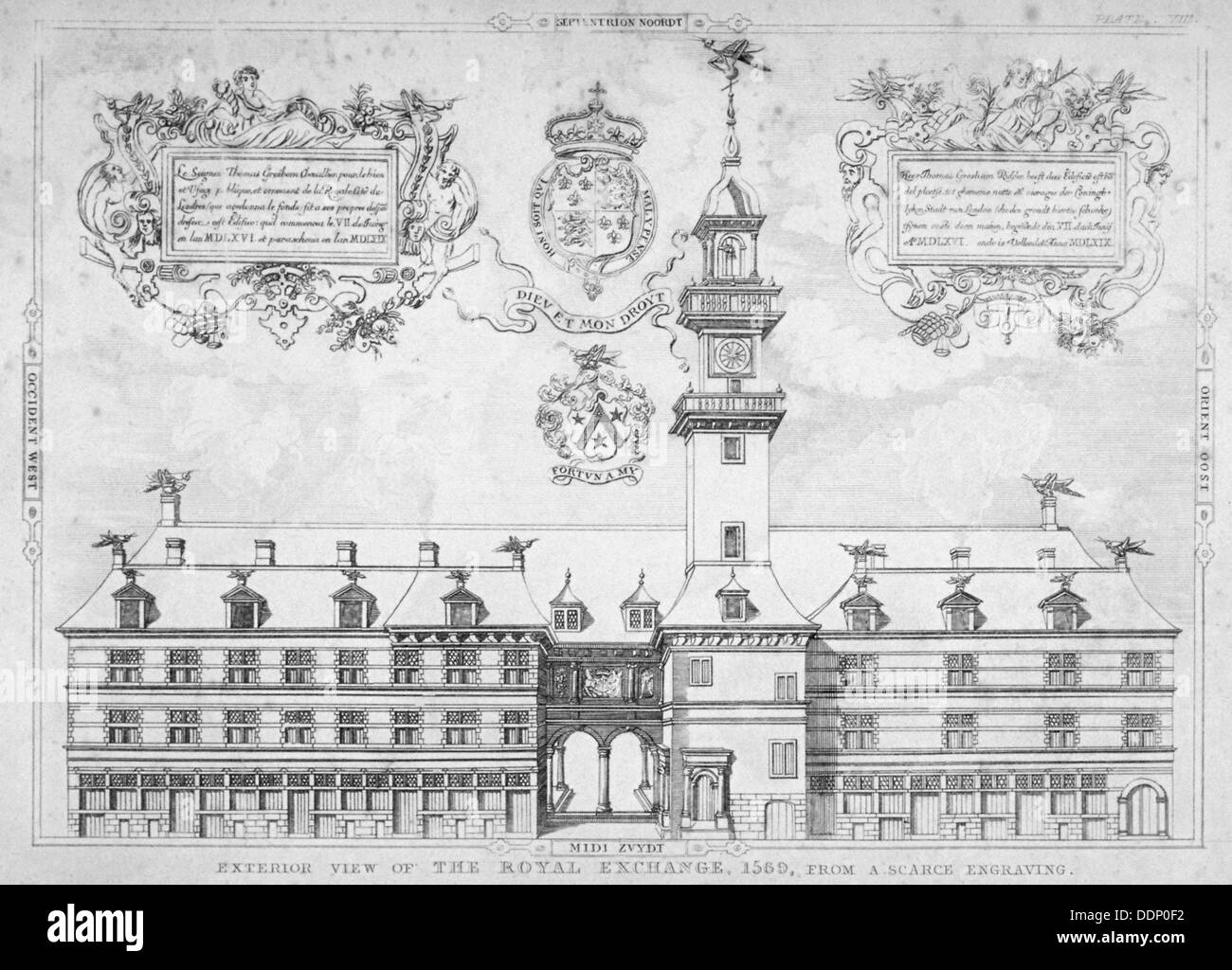 View of the Royal Exchange with coats of arms above, City of London, 1569.                           Artist: Anon - Stock Image