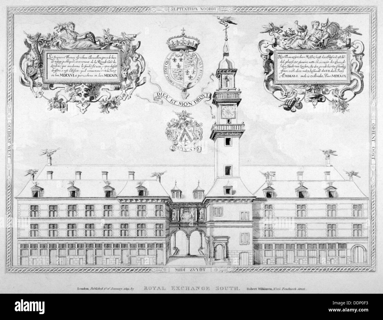 South view of the first Royal Exchange with coats of arms above, City of London, 1819.               Artist: Anon - Stock Image