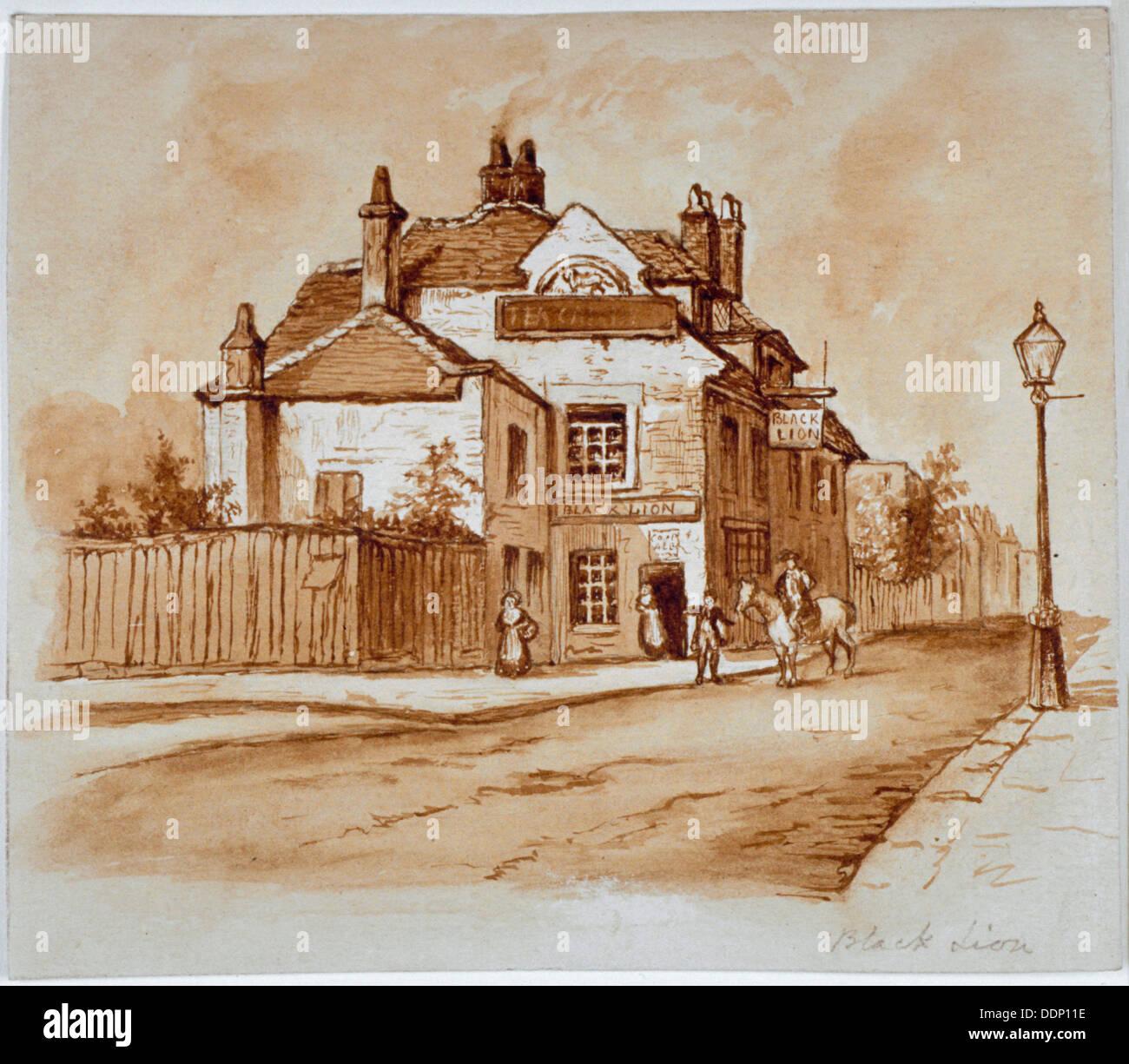 View of the Black Lion Inn, Church Street, Chelsea, London, 1860.                                    Artist: Anon - Stock Image