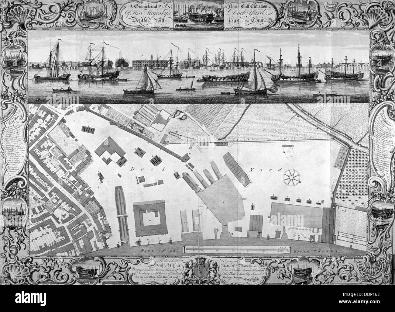 Deptford Docks, London, 1753.                                                   Artist: Pierre-Charles Canot - Stock Image