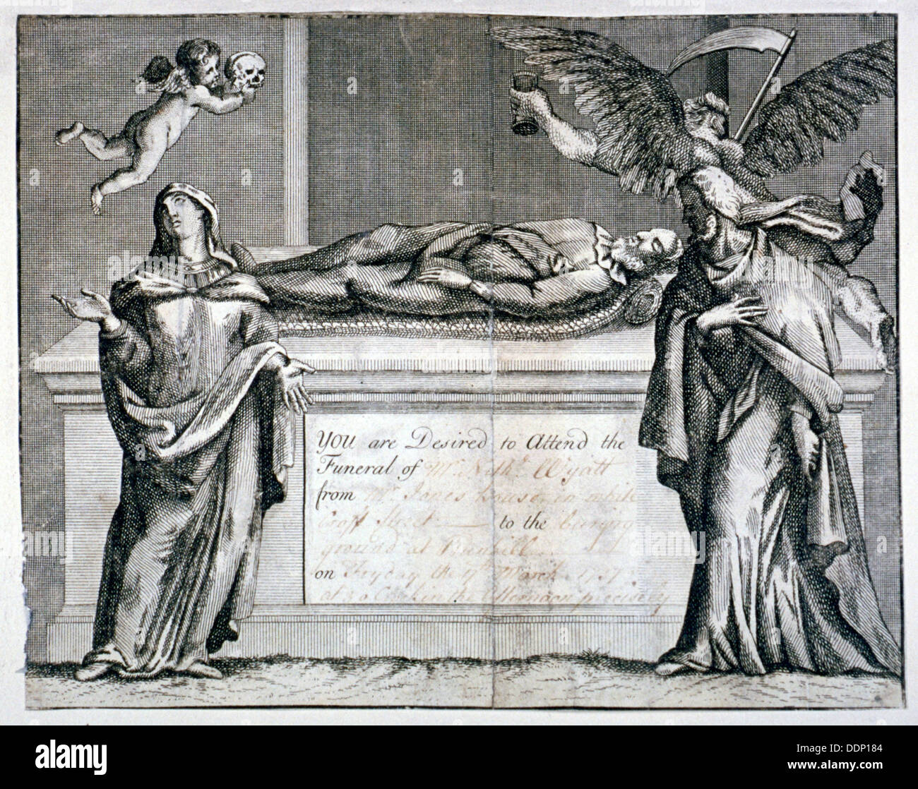 Invitation card to a funeral at Bunhill Fields in 1737. Artist: Anon - Stock Image