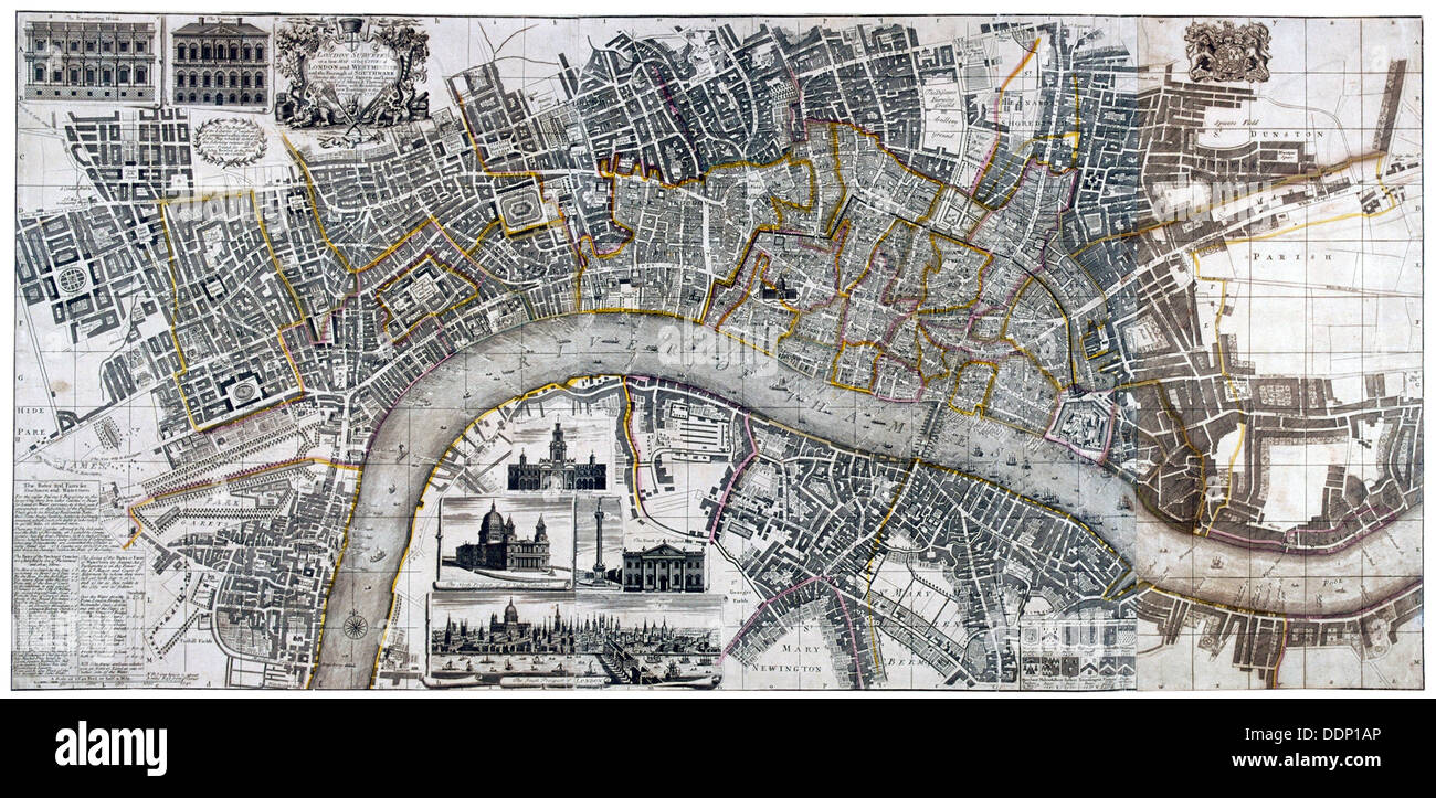 Map of the City of London, City of Westminster, River Thames, Lambeth and Southwark, 1736. Artist: Anon Stock Photo