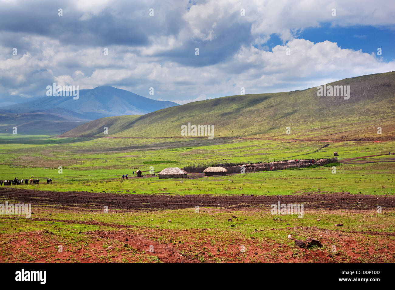 Savannah landscape in Tanzania, Africa. Maasai houses in the valley. - Stock Image